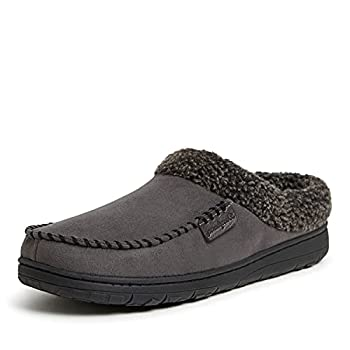 Dearfoams Men s Microfiber Suede Clog with Whipstitch Slipper Pavement Large