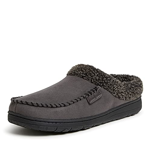Dearfoams Men's Microfiber Suede Clog with Whipstitch Slipper, Pavement, Large