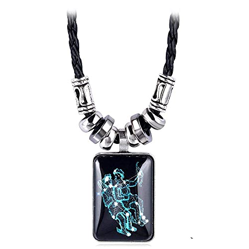 QYQMYK Collar De Constelación, Collar con Colgante Cuadrado Negro De Géminis, Elegante Colgante De Signo del Zodiaco, Collar De Constelación, Hecho A Mano, Personalizado, Amulet