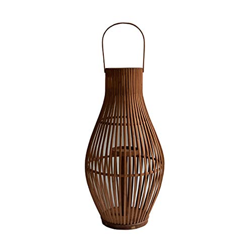 zlw-shop Candle Holders Retro Floor Candle Holder Natural Bamboo Woven Lantern Shape Candlestick Centerpieces for Wedding, Home Decor, Ceremony and Anniversary Candlestick Holder