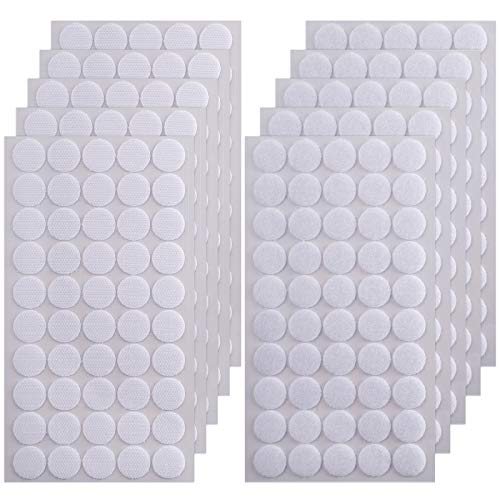 WXBOOM 600pcs (300 Pairs) 20mm Diameter Sticky Back Coins Hook & Loop Self Adhesive Dots Tapes for Classroom Home Sewing Crafts
