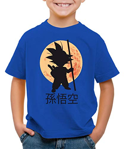 style3 Goku Moonlight Camiseta para Niños T-Shirt, Color:Azul;Talla:128