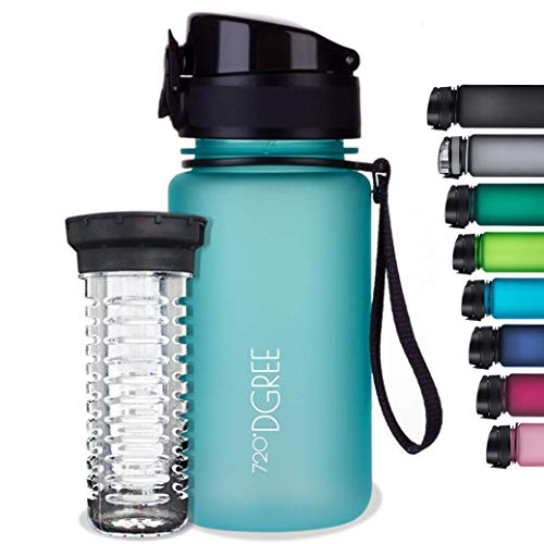 720°DGREE Botella de Agua uberBottle – 350 ml, 350ml, Azul | Novedosa Botella Deportiva | Sin BPA | Ideal para niños, Fitness, Deportes, fútbol, guardería, Escuela, pequeños, antigoteo