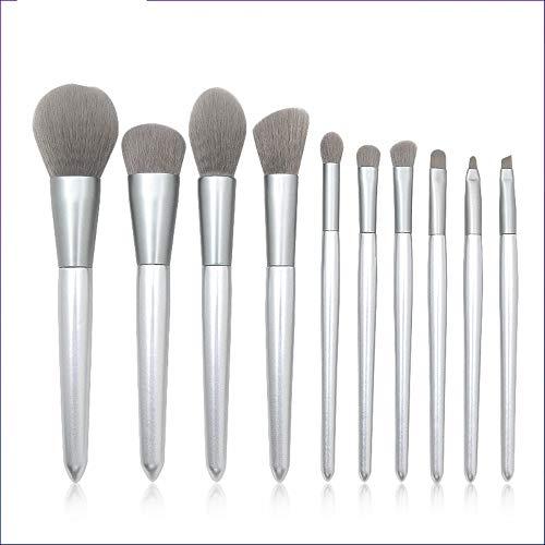 Pinceaux Maquillages 10 Argent Manche En Bois Tige Tige Tige Tige Gris Bouche Tube Gris Fourrure Maquillage Outil De Maquillage