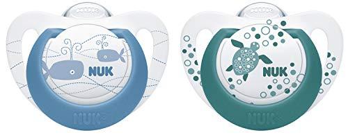 NUK Genius Color Silikon-Schnuller, kiefergerechte Form, 6-18 Monate, 2 Stück, blau & grün