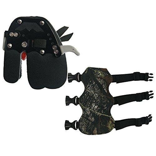 Tiro con arco dedo protector de dedos de piel Tab guardia y protector de brazo compuesto caza con arco derecho mano