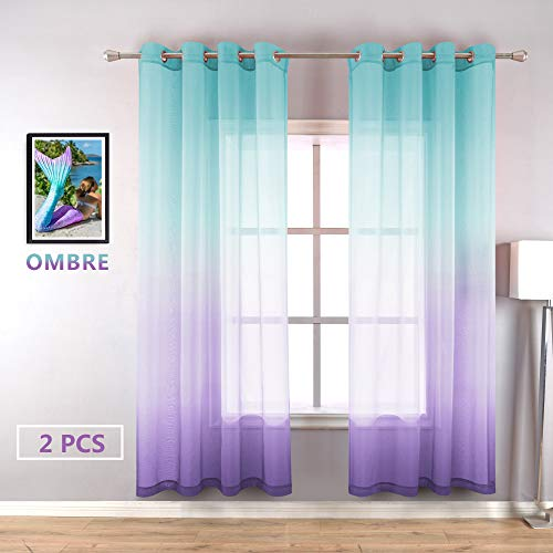 Green Purple Ombre Curtains 63 Inch Length Grommet Set 2 Panels Mermaid Cartoon Pattern Semi Sheer Short Voile Drapes and Curtains for Children's Bedroom Girls Room Princess Windows Kids Baby Nursery