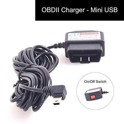 CoCar OBD2 DVR Dashcam Ladekabel Mini USB Adapter mit Schalter, 16 Pin OBDII Auto/Fahrzeug direkt zur Batterie/ Festverkabeltes Kabel Autoladegerät für PDA Handy GPS Tablette – 3M/11.5FT Draht – DC12-24V zu 5V - 3
