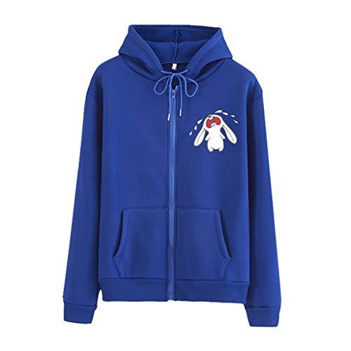 Auifor vrouwen Art en wijze casual losse aanzet O-konijnen-druk-ritssluiting hoodie bedrukte trui mantel
