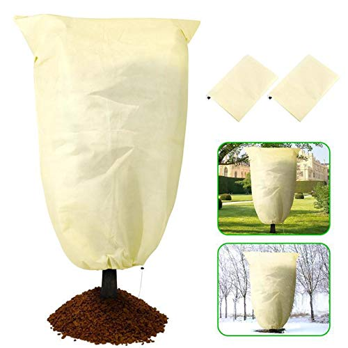 WEAHHAL Winter Plant Frost Protection Cover, 120 * 180cm Rip Resistant Garden Plant Warming Fleece Jacket for Shrub and Trees, Frost Covers Keep Your Plants from Damage(2 pack, Beige)
