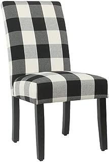 Meadow Lane Black Plaid Parsons Dining Chair - Set of 2