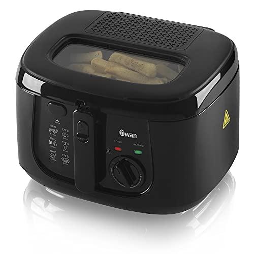 Swan 2.5 Litre Deep Fat Fryer with Viewing Window, Adjustable temperature controls, Easy Clean, 1800 W, Black, SD6080BLKN