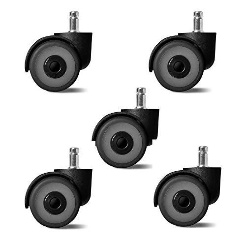 XGG bureaustoel draaibare wielen wielen 5 stks rubber Casters voor meubels tafel Trolley Bed Werkbank - Castors Swivel Wheel Universal met Stem Safe Protection