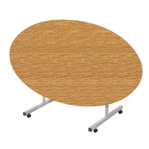 Metalliform TILT-OVAL-169-PS-GR-76-SV- Tilt Top Eettafel, Duraform PU groene rand, Eik, 1