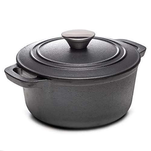Dawsons Living - Cacerola de hierro fundido con cerámica de inducción y gas para horno holandés, con tapa, Pre sazonado, 1.6L Casserole