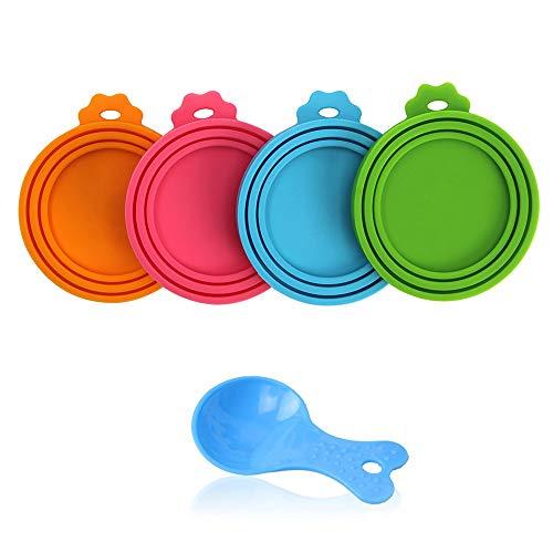SENDR.KR Tierfutter-Dosendeckel, 4er-Set Universal-Silikon-Dosendeckel für TierfutterdosenBPA-frei, spülmaschinengeeignet. Deckel für Dosen für Hunde und Katzen (4 Pack+Spoon)