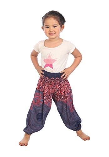 Lofbaz Kinder Boho Hose Hippie Rose Flower Aladdin Boho Dunkelblau Größe 4T
