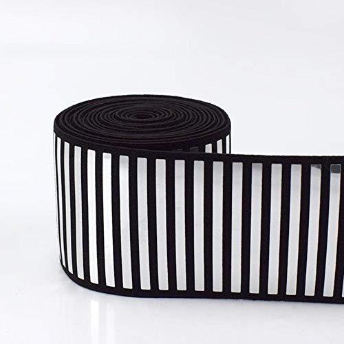 5 / 10M 5cm pailletten elastische band badpak kleding rok reflecterende stretch elastische banden lint riem spanning rubber tape, streep zilver, 50mm