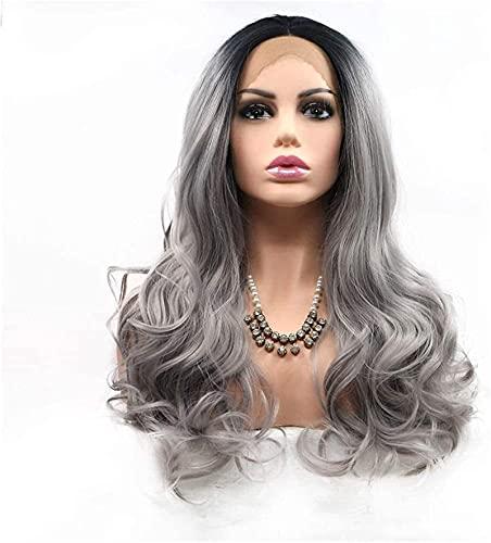 PIAOLIGN Pelucas Gray Big Wave Wig Frontal Fibra Química Fiber Temperatura Alambre Wig Europa Y América Peluca Cosplay