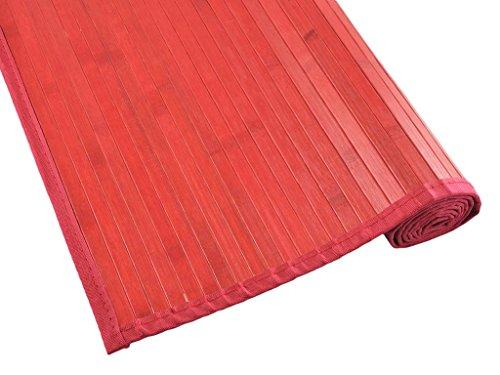 Tiendas Mi Casa - Alfombra bambú Kenia (70x200 cm, Rojo, Lama 15 mm). Disponible en Varios tamaños y Colores.