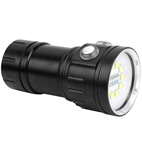 Antorcha de buceo LED, linterna de buceo Dispositivo de seguridad profesional Material de aluminio de aviación para fotografía subacuática Luz de relleno e iluminación de buceo subacuáticoc