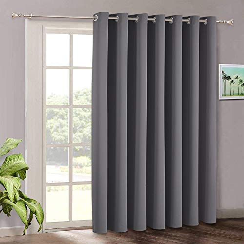 Blackout Patio Door Curtains Bedroom - Home Decor Grommet Curtain Thermal Insulated Vertical Blind Window Treatment Drapes for Living Room Sliding Glass Door, Wide 100 x Long 84 inch, Grey