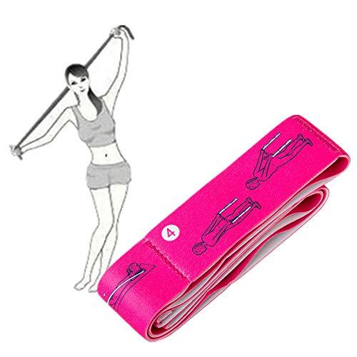 LahAd Cintas Elasticas Musculacion Mujer Cinta Estiramientos Gomas Elasticas Musculacion Hombre CinturóN De Yoga para Mujer Fitness Pink,90cm