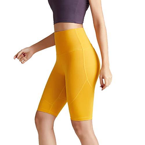 Sport Yoga Pants,'S Senza Saldatura Alte Donne della Vita di Allenamento Pancia Controllo Stretch Esecuzione Fuseaux, Non See-Through Fitness Elastic Shorts,Giallo,S