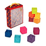 Battat B. toys – One Two Squeeze Blocks – Bloques de construcción para niños – Juguetes educativos para bebés de 6 meses en adelante, con números, formas, animales y texturas – 10 bloques suaves apilables (BX1002Z)