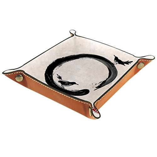 YATELI Small Storage Box,mens valet tray,Black bird black Enso Zen circle vintage background,Leather Catchall Organizer for Coin Box Key Jewelry