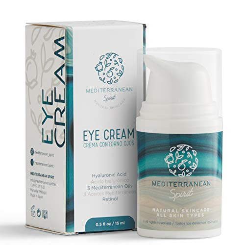 Crema Contorno de Ojos Antiarrugas Ácido Hialurónico, Retinol y 3 Aceites Mediterráneos - Ingredientes Naturales y Ecológicos - Mujer y Hombre por Mediterranean Spirit
