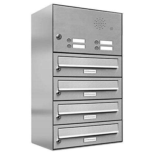 AL Briefkastensysteme 4er Briefkastenanlage mit Klingel, Edelstahl, Premium Briefkasten DIN A4, 4 Fach Postkasten modern Aufputz