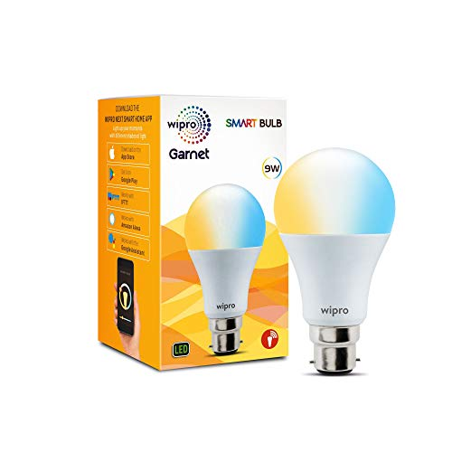 Wipro Wi-Fi Enabled Smart LED Bulb B22 9-Watt (Pack of 1, Shades of White and Yellow) Compatible with Amazon Alexa and Google Assistant