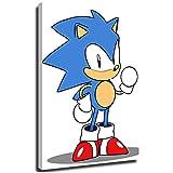 Megiri Print Art Decor Sonic The Hedgehog, dibujo anime abstracto, decoración de pared para dormitorio, decoración de pared con tema de flores, lona, Enmarcado, 24'x36'