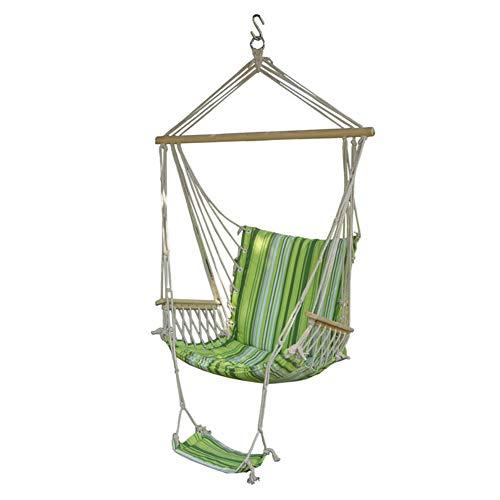 Hangmat Stoel, Opknoping Cotton Canvas Swing Seat Met Foot Pad (Kan Worden Gedemonteerd) Voor Indoor & Outdoor, Gewicht Capaciteit 150Kg