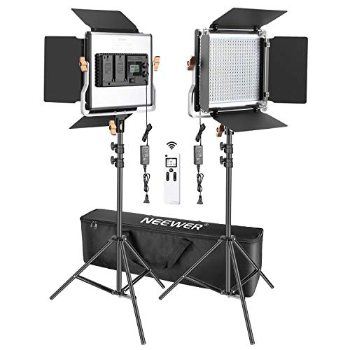 Neewer 2 Packs Advanced 2.4G 480 LED Video Light Photography Lighting Kit with Bag, Dimmable Bi-Color LED Panel with 2.4G Wireless Remote, LCD Screen and Light Stand for Portrait Product Photography