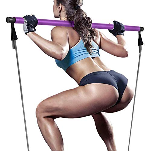 Pilates Resistance Bands and Yoga Toning Bar - Portable Home Gym Total Body Workout Kit for Exercise, Fitness, Stretch, Tone(Purple)