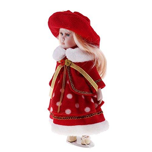 Sharplace Puppenhaus Miniatur Viktorianische Mädchen Porzellan Puppe im Bekleidung Mit Display Ständer - 30cm - # E