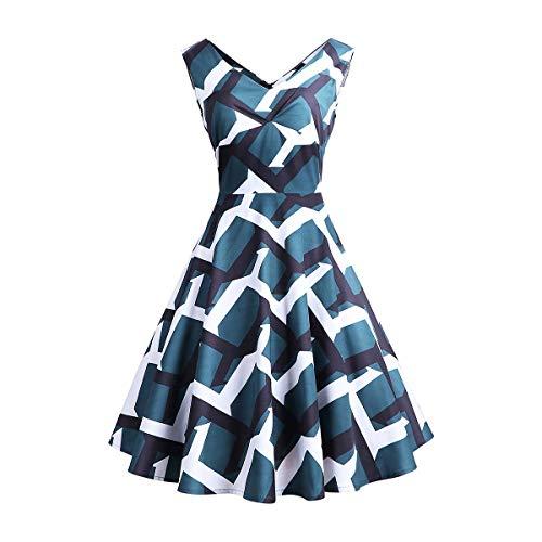 YYH Damen Kleid mit V-Ausschnitt Ärmel Stretchy mit Blumenmustern Langes Kleid mit Gürteln Cocktailkleid,H,M