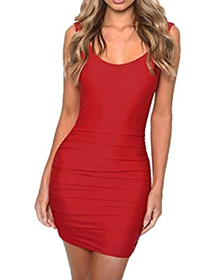 Haola Women's Deep V Neck Backless Mini Dress Sexy Club Party Bodycon Dress S Red