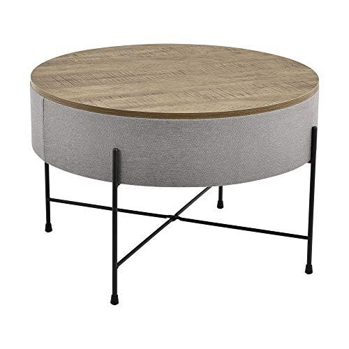 [en.casa] Mesa de Centro con Tablero extraíble 40 x 60 cm Mesa Auxiliar Redonda con Almacenamiento Interno Mesa pequeña Mesa de café y té Gris y Negro