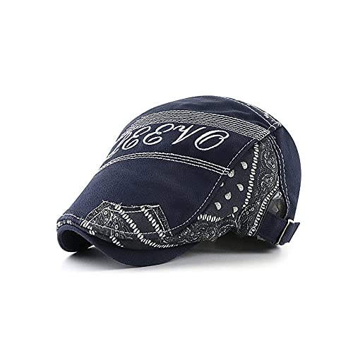 WQZYY&ASDCD Boinas Sombreros Gorras Sombrero con Lengua De Pato, Boina Bordada con Letras, Costura Estilo Étnico, Sombrero Delantero Masculino Y Femenino, Azul Oscuro