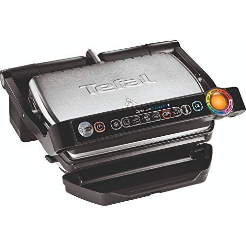 Tefal OptiGrill+ Smart GC730D Kontaktgrill (mit App-Steuerung für ideale Grillergebnisse, 2.000 Watt, automatische Anzeige des Garzustands, 6 voreingestellte Grillprogramme) schwarz/edelstahl