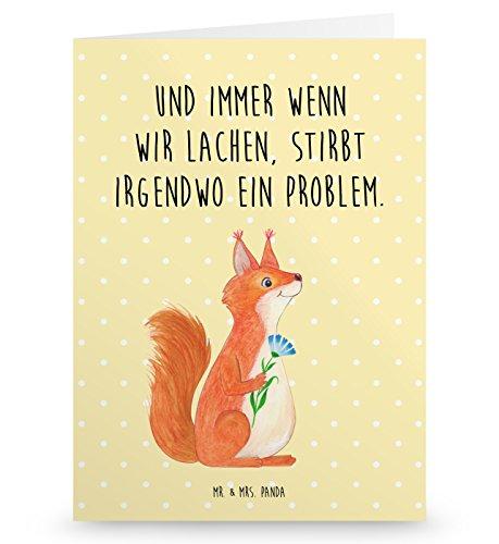 Mr. & Mrs. Panda Geburtstagskarte, Hochzeitskarte, Grußkarte Eichhörnchen Blume mit Spruch - Farbe Gelb Pastell