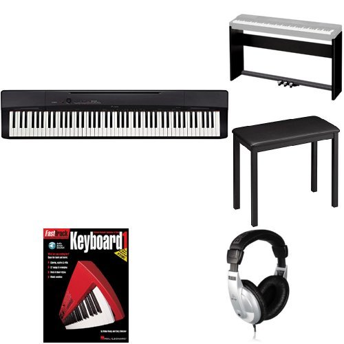 Casio Privia PX160BK 88-Key Full Size Digital Piano Bundle with CS-67P Stand, SP33 Pedals, CB7 Bench, Headphones, and Instruction Book