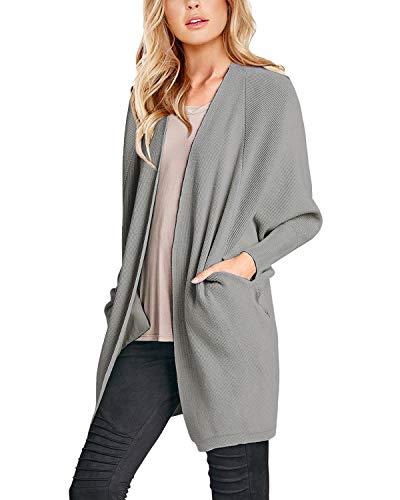 SUNNYME Kimono Cardigans Damen Langarm Strickjacke für Frauen Open Front mit Taschen Mäntel Pullover A-Light Grau S