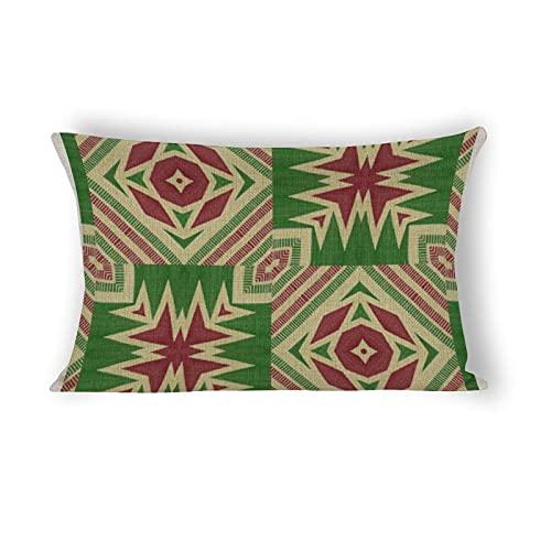 Kente - Funda de almohada (50,8 x 76,2 cm), color rojo y verde