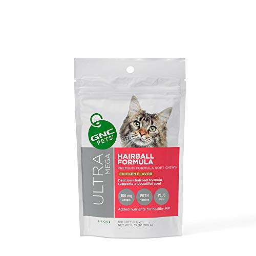 GNC Pets Ultra Mega Hairball Formula Soft Chews Supplement for Cats, 120 Count - Chicken Flavor | Supports a Beautiful Coat | Healthy and Natural Pet Supplements Safe for All Cats