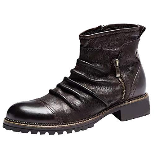 LILIGOD Herren Retro Kurze Stiefel Blockabsatz Lederstiefel Boots Bequeme rutschfeste Stiefeletten...