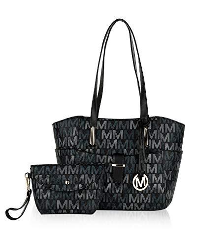 Mia K Collection Tote Shoulder Bag, Satchel Handbag for Women Set PU Leather Top Handle Purse, Gold-Tone Hardware Black